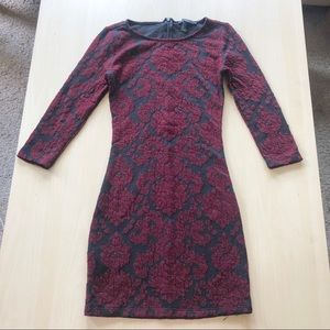 3/4 Sleeve Dress Red Black with Back Zipper Small